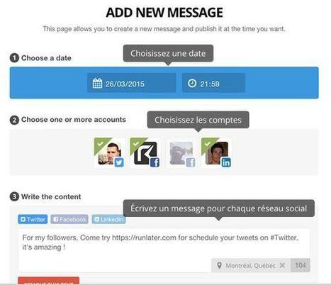 Runlater. Programmer vos messages sur les réseaux sociaux | Les outils de la veille | Les outils du Web 2.0 | Scoop.it