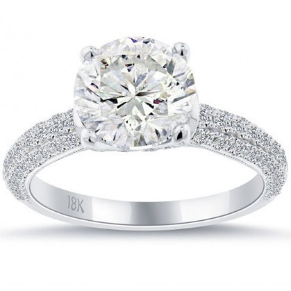 Natural Round Diamond Engagement Ring in White Gold | Online Diamond Jewelry Stores in New York | Scoop.it