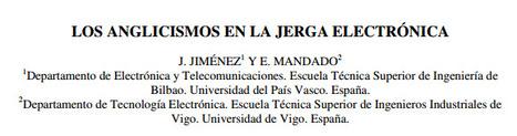 (ES) (EN) (PDF) - LOS ANGLICISMOS EN LA JERGA ELECTRÓNICA | J. JIMÉNEZ y E. MANDADO | Glossarissimo! | Scoop.it