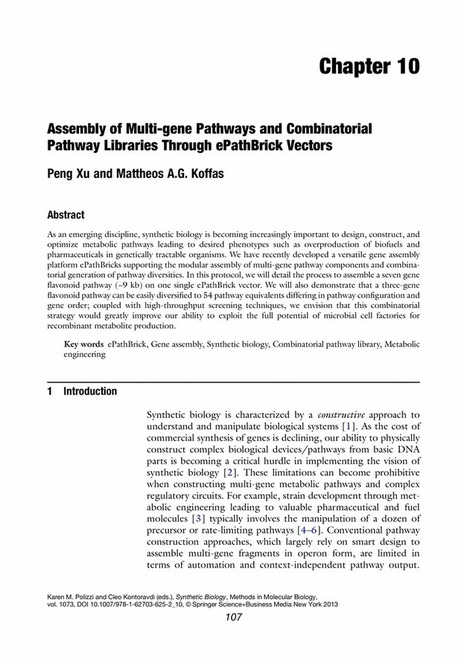 Assembly of Multi-gene Pathways and Combinatorial Pathway Libraries Through ePathBrick Vectors   Library Media Centers   Scoop.it
