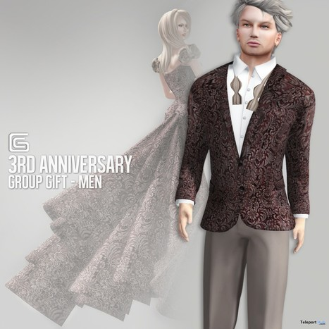 Male Tuxedo 3rd Anniversary Group Gift by Gizza Creations | Teleport Hub - Second Life Freebies | Second Life Freebies | Scoop.it
