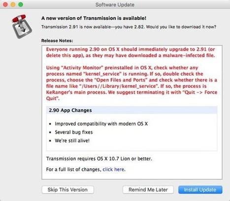 Mac Users Hit by Rare Ransomware Attack, Spread via Transmission BitTorrent App | Apple | CyberSecurity | Apple, Mac, iOS4, iPad, iPhone and (in)security... | Scoop.it