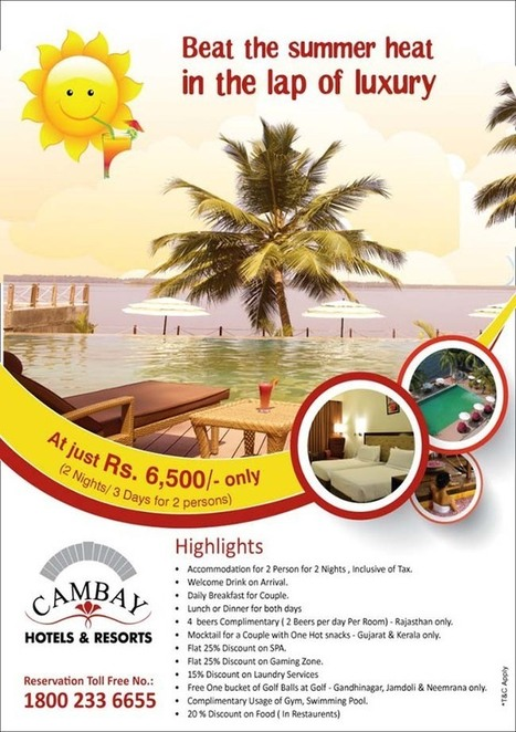 Summer Holiday Tour Packages 2014, Summer Vacation Travel Deals in Ahmedabad, Jaipur, Kerala and Udaipur India. | Cambay Hotels & Resorts | Scoop.it