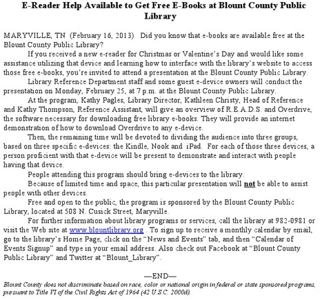 E-Reader Help to Get Free E-Books at Blount County Public Library | Tennessee Libraries | Scoop.it