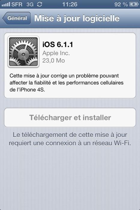 iOS 6.1.1 est disponible au téléchargement - 1GEEK.FR | Tout ce que j'aime dans le monde geek | Scoop.it