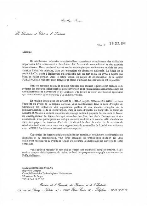 Lettre mission du Secrétaire général à l'Industrie C PIERRET à Mme HUMBERT-MULAS le 30 Octobre 2001 | FRANCE Délégués régionaux au Redressement Productif | Scoop.it
