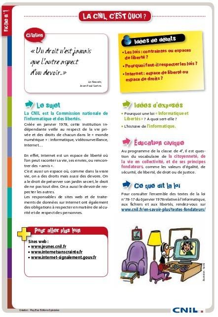 Fiches pédagogiques de la CNIL pour les écoles primaires | L'e-école | Scoop.it