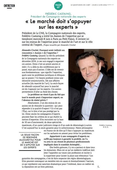 "PRESSE / Le Quotidien de l'Art  2/3 | ""L'Expert-Marchand"" 