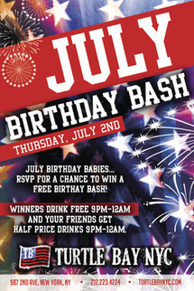 July Birthday Bash Free Drink Your Birthday in NYC | Best Bars Midtown NYC | Scoop.it