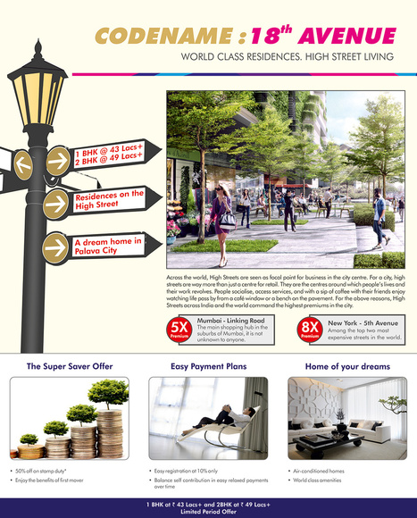 18th Avenue by Lodha presents residences by Palava's buzzing high street. | Rea Estate | Scoop.it