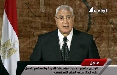 """Egypte: Adly Mansour fustige ceux qui """"veulent suivre la voie du sang""""   Égypt-actus   Scoop.it"""