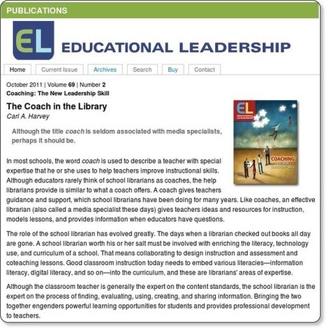 School Library Monthly Blog » Blog Archive » Coaching in the Library : Carl Harvey in Ed Leadership | School Librarian As Building Leader | Scoop.it
