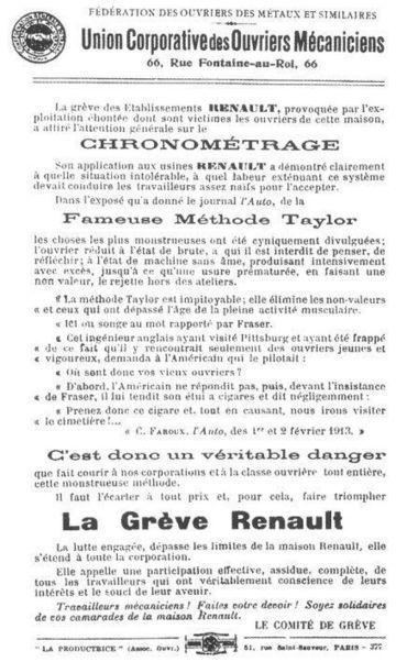 L'automobile en 1913 : grève dans les usines Renault | Yvon Généalogie | Auprès de nos Racines - Généalogie | Scoop.it