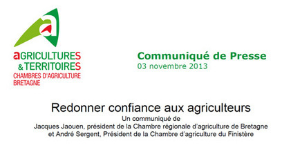 03-11-2013 Redonner confiance aux agriculteurs - Chambres d'Agriculture de Bretagne | Agroalimentaire-bretagne | Scoop.it