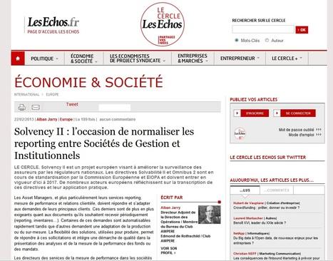 Solvency II : l'occasion de normaliser les reporting entre Sociétés de Gestion et Institutionnels | Le Cercle Les Echos | Directive Solvency II (Solvabilité 2) | Scoop.it