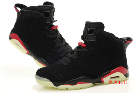 "Black/Red Colors Nike Shoes - Jordan 6 Vi ""Glow"" Basketball Shoes - Womens Retro 