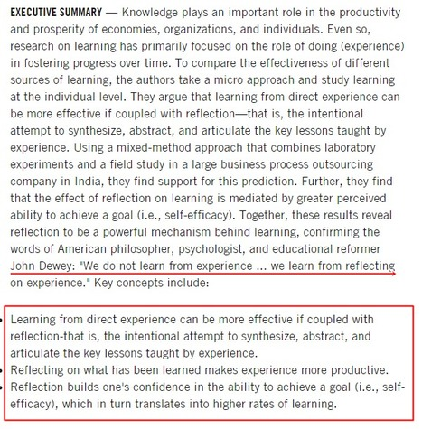 Learning By Thinking: How Reflection Improves Performance — Harvard Business School | Teachning, Learning and Develpoing with Technology | Scoop.it