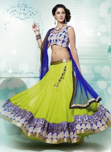 Lehnga Choli In Lime Green with Dangler, Lace, Resham. Purchase online now   Bridal Lehengas   Scoop.it