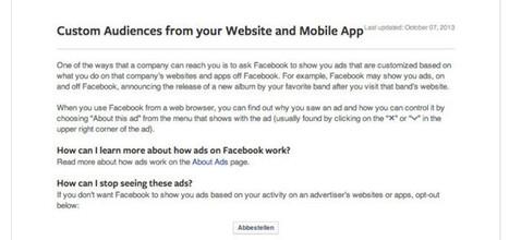 Wusstest du schon: Website Custom Audience Opt-Out   Facebook-Marketing   Scoop.it
