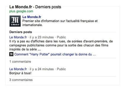Les posts Google+ arrivent dans les SERP de Google France - Abondance | E-Réputation des marques et des personnes : mode d'emploi | Scoop.it