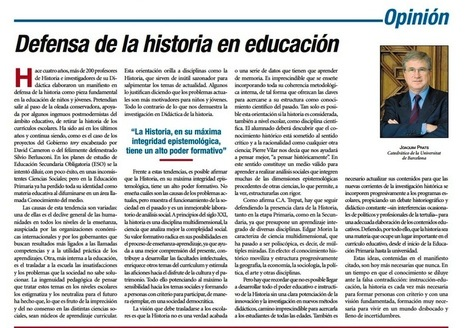 DEFENSA DE LA HISTORIA EN EDUCACIÓN, de Joaquim Prats | Historia Contemporánea y TICS | Scoop.it