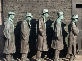 detail-showing-poor-figures-from-by-george-segal - Soup Kitchens and Breadlines - The Great Depression Pictures - HISTORY.com | The Great Depression | Scoop.it