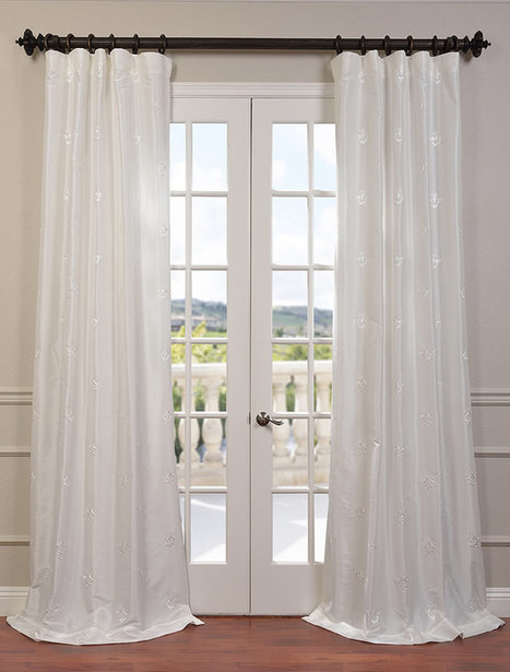 Trophy White Embroidered Faux Silk Taffeta Curtain | window curtains | Scoop.it