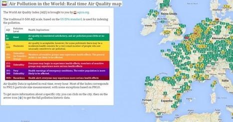 Un mapa mostrando la polución del aire en el mundo en tiempo real | GEOGRAFIA SOCIAL | Scoop.it