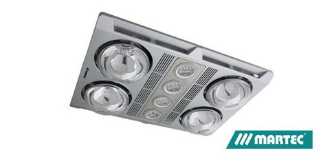 Martec 3 in 1 Bathroom Heater & exhaust Fan Silver 4 x LED Light 4 x Heat Lamp  -  $221.9 Save: 21% off | Ceiling Fans Lights | Scoop.it