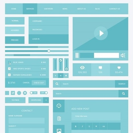 20 Free Photoshop PSD flat UI kits | Creative Nerds | Photoshop Tutorials | Scoop.it