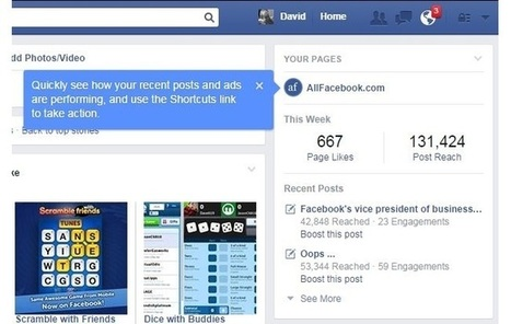 Facebook Adds 'Your Pages' Module to Timelines of Page Administrators   MarketingHits   Scoop.it