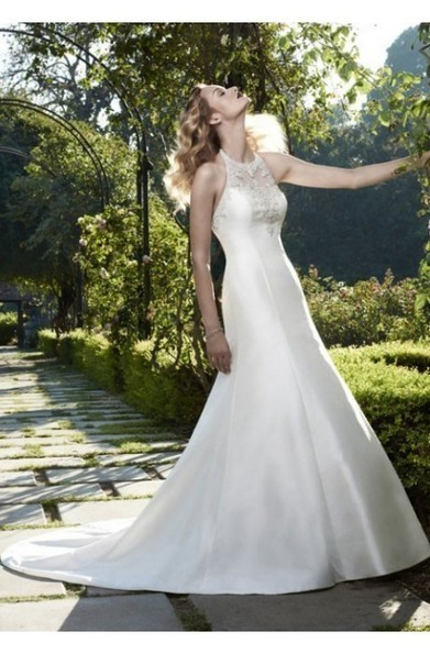 Halter High-neck Lace Bodice Button Up Satin Wedding Gowns at 199dresses | wedding dresses collection | Scoop.it