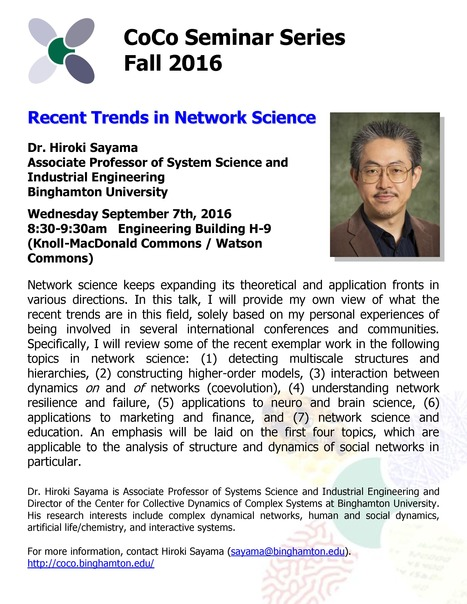 "CoCo Seminar on Sep. 7th: ""Recent Trends in Network Science"" by Hiroki Sayama 