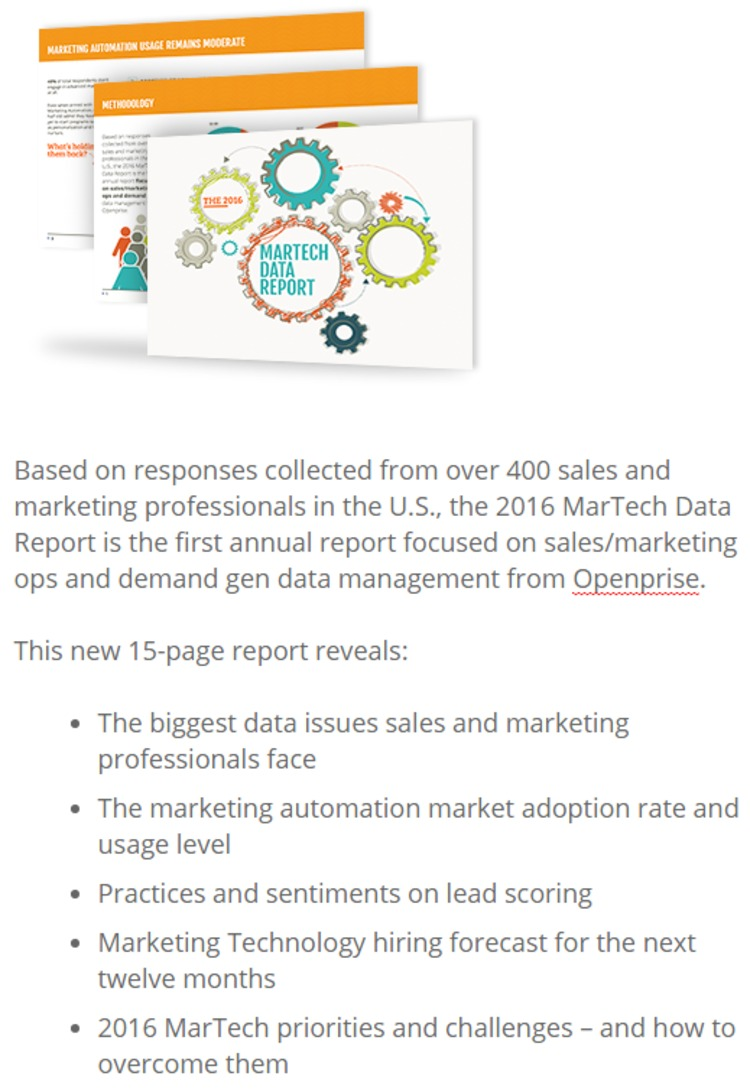 [FREE] The 2016 MarTech Data Report - Openprise | The Marketing Technology Alert | Scoop.it