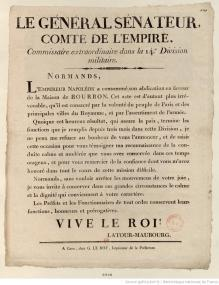 Document - Proclamation du général de Latour-Maubourg annonçant aux Normands l'abdication de Napoléon et le rétablissement des Bourbons | HistoGraphe | GenealoNet | Scoop.it