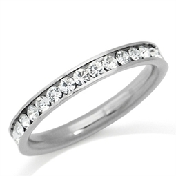 3MM White Crystal Stainless Steel Wedding Eternity Band Ring | Online Store | Scoop.it