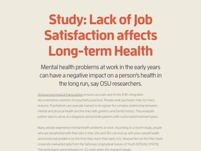 Study: Lack of Job Satisfaction affects Long-term Health   Medical Transcription Outsourcing   Scoop.it