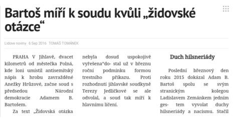 LN: V Jihlavě začne soud s A. B. Bartošem za antisemitismus v Polné | ANFAS | Scoop.it