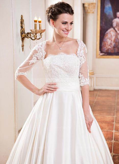 [€ 218.77] Palloncino Scollatura quadrato Coda a strascico corto Raso Abito per matrimonio con Increspature Pizzo Perline Paillettes (002055084)   wedding dress   Scoop.it