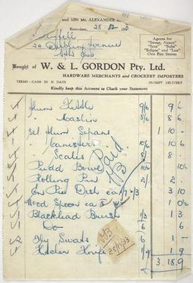 Receipt - Issued to Miss Duffell, by W&L Gordon, Hardware Merchants & Crockery Importers, 28 Dec 1933 - Museum Victoria | Faction | Scoop.it