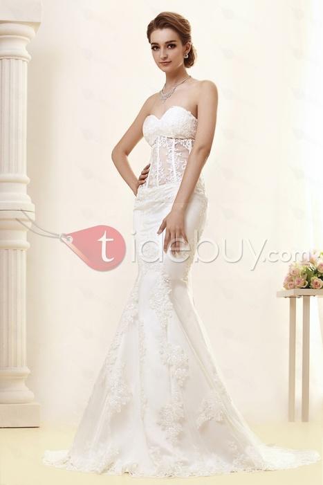 Gorgeous Strapless Sweetheart Lace Trumpet/Mermaid Angerlika's Wedding Dress | lovely girl | Scoop.it