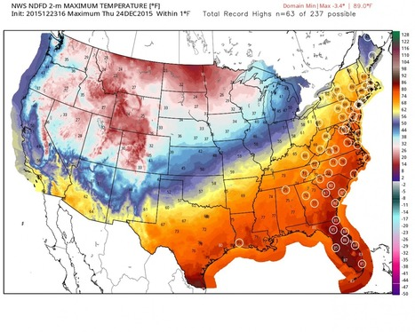 Scores of eastern U.S. cities to shatter Christmas Eve warm weather records   Geography Education   Scoop.it