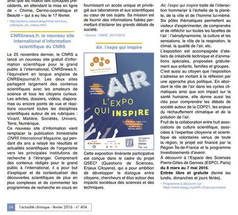L'actualité chimique | Les actualités du groupe Traces et de l'Espace des sciences Pierre-Gilles de Gennes de l'ESPCI ParisTech | Scoop.it
