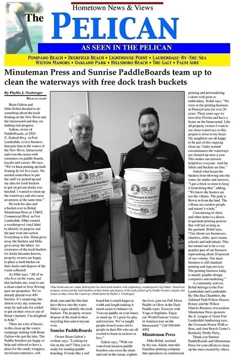 Minuteman Press and Sunrise PaddleBoards have teamed up to clean the waterways with free trash buckets. | Fort Lauderdale Printing | Scoop.it