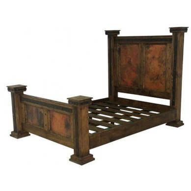Finca Rustic Wood Bed With Copper Panels And Iron Trim | rustic bed | Scoop.it
