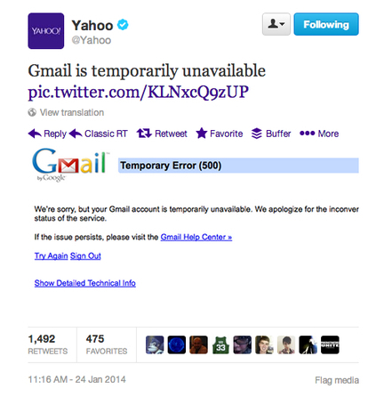 When Gmail Went Down, Yahoo Poked Fun On Twitter | So Mi Nam | Scoop.it