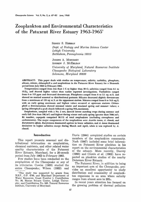 Zooplankton and environmental characteristics of the Patuxent River Estuary 1963–1965 - Springer | Plankton in the Patuxent | Scoop.it