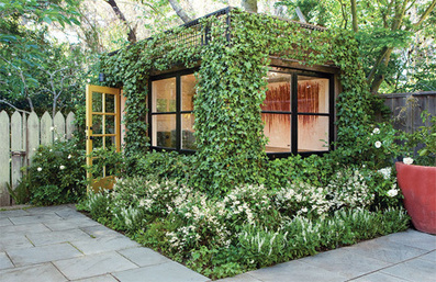 Lush Ivy-Covered Building is a Living Backyard Home Office   Garden Designer   Scoop.it