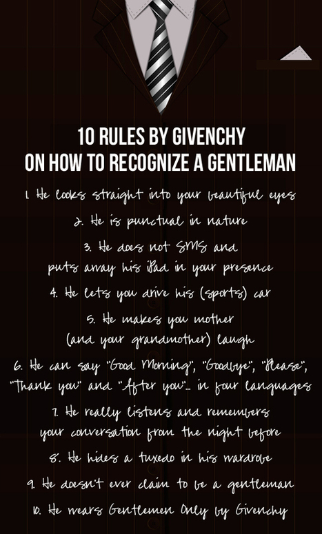 10 rules by Givenchy on how to recognise a gentleman | CelebritizeYou | Scoop.it