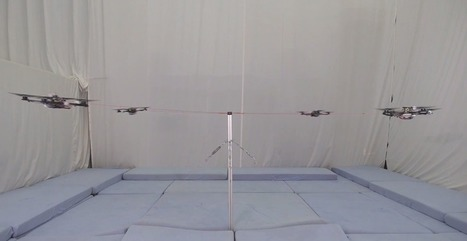 Multiple tethered quadrotors performing high-g, high-speed formation maneuvers  | Robohub | Heron | Scoop.it